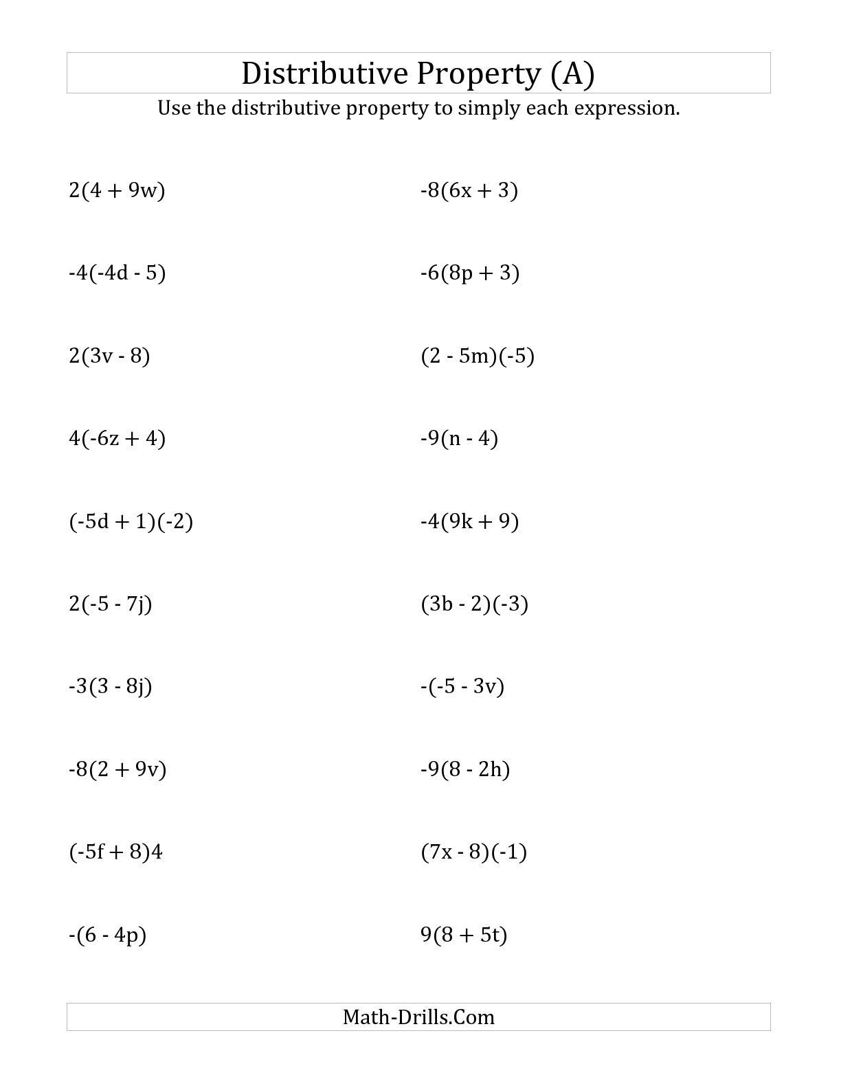 Distributive Property 4th Grade Worksheets the Using the Distributive Property Answers Do Not Include