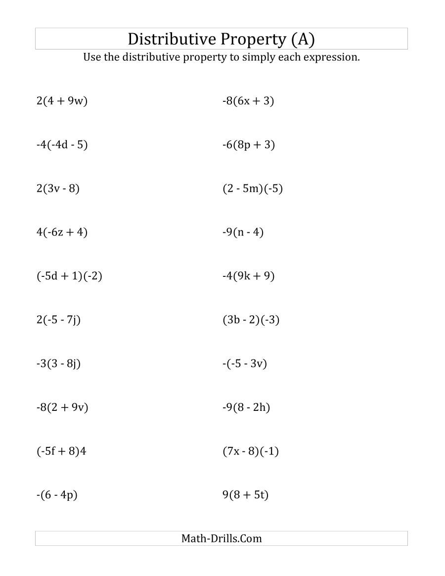 Distributive Property 4th Grade Worksheets Using the Distributive Property Answers Do Not Include