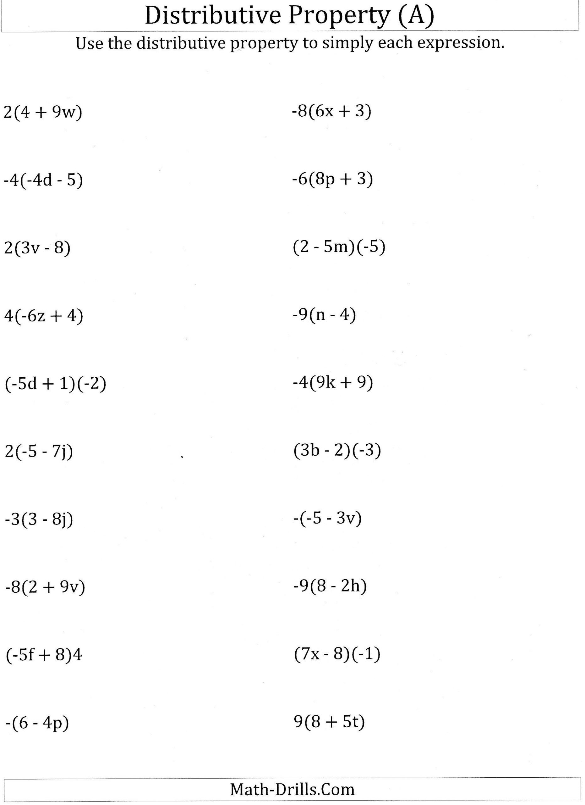 Distributive Property 4th Grade Worksheets Using the Distributive Property Worksheet