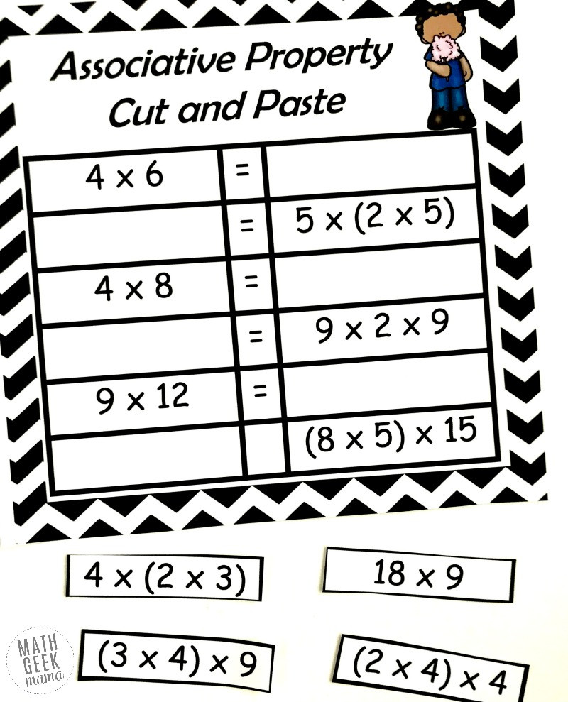 Distributive Property Worksheet 3rd Grade Free Properties Of Multiplication Cut & Paste Practice