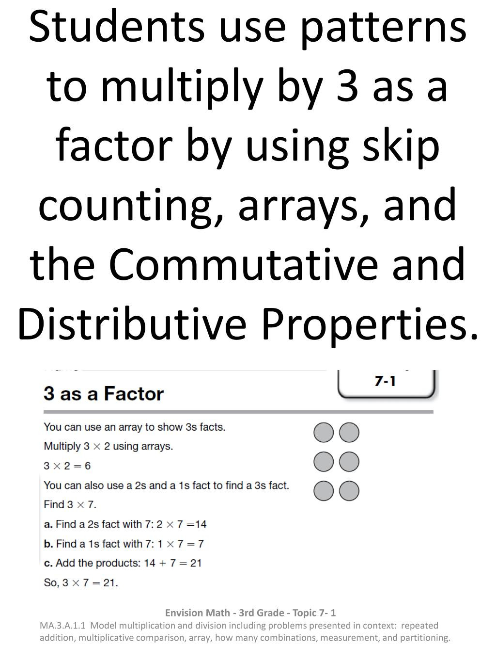 Distributive Property Worksheet 3rd Grade Ppt Students Use Patterns to Multiply by 3 as A Factor by