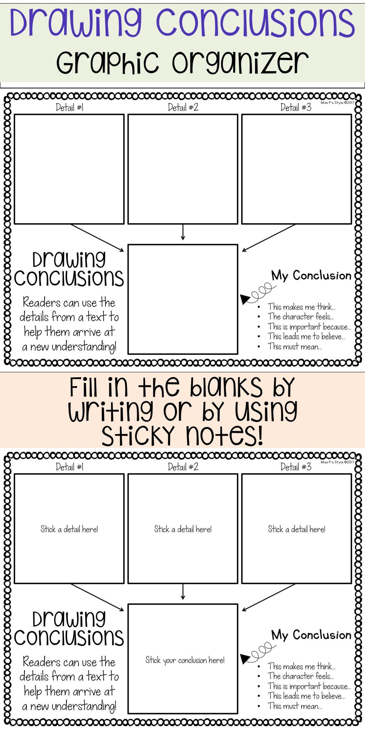 Draw Conclusions Worksheet 3rd Grade Drawing Conclusions Graphic organizer