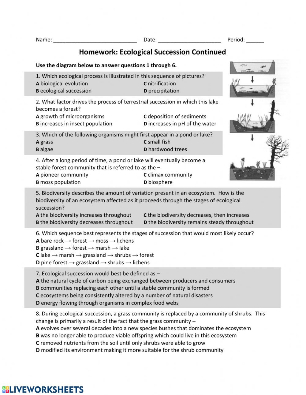 Ecological Succession Worksheet High School Es Eco Succession Part 2 Interactive Worksheet