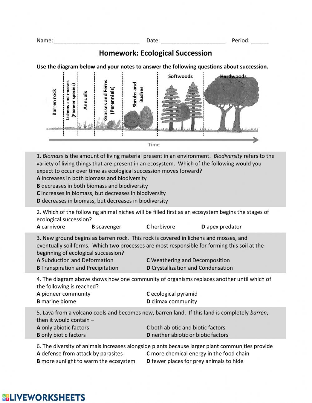 Ecological Succession Worksheet High School Es Ecological Succession Hw Interactive Worksheet
