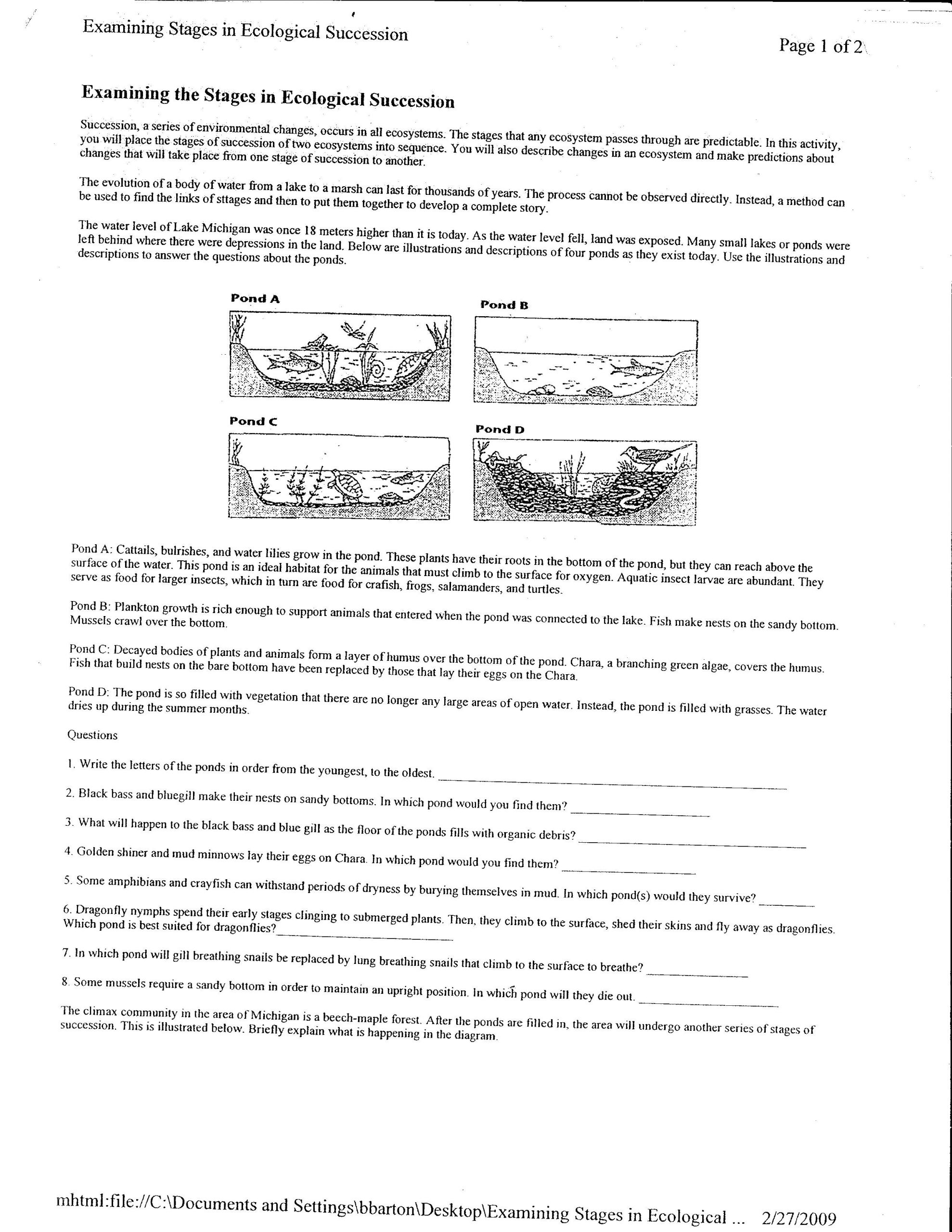 Ecological Succession Worksheet High School Télécharger Successions Worksheet Pdf Pdf