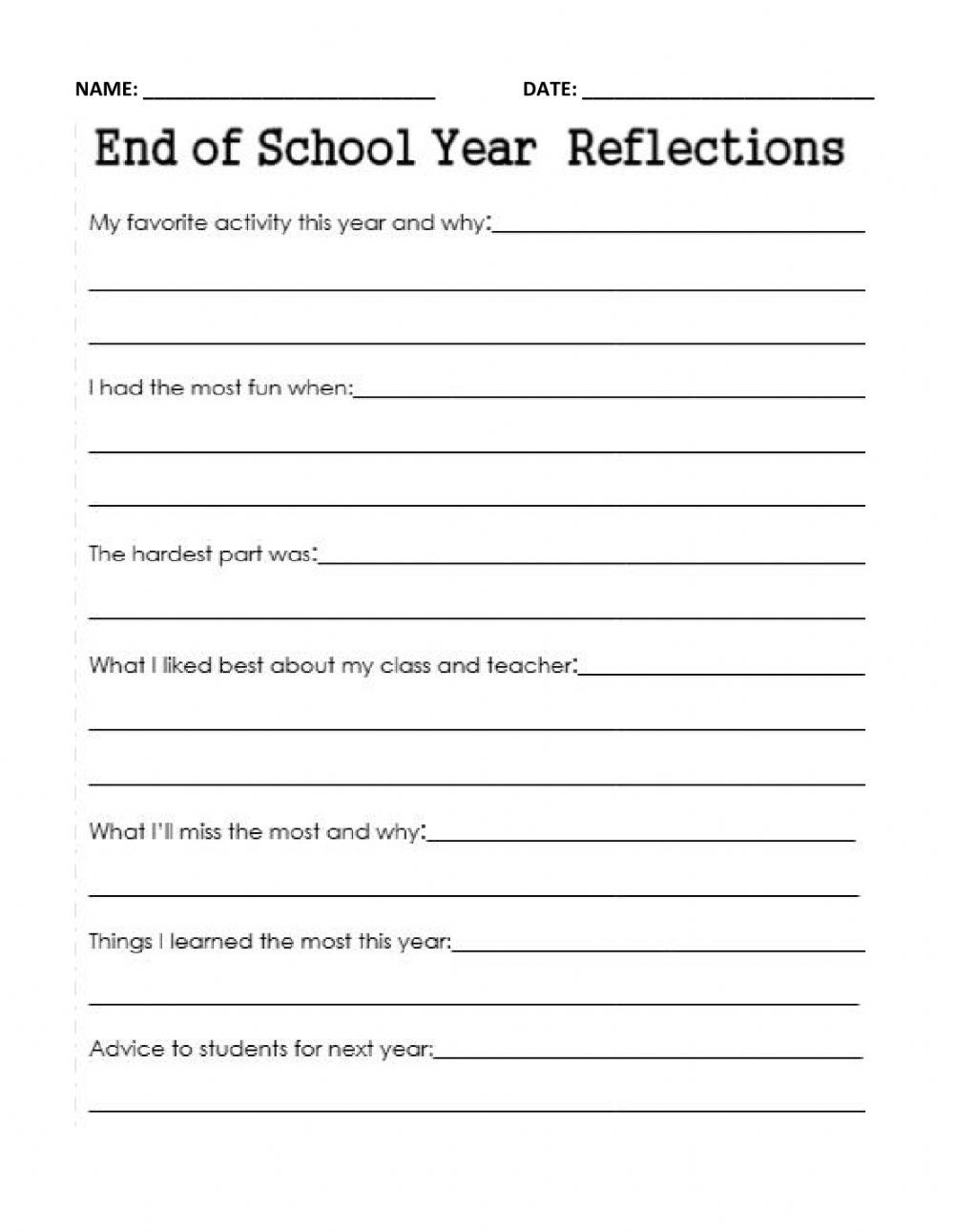 End Of School Worksheets End Of Year School Reflection Interactive Worksheet