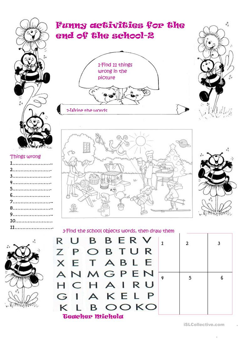 End Of School Worksheets Funny Activities for the End Of the School 2 English Esl