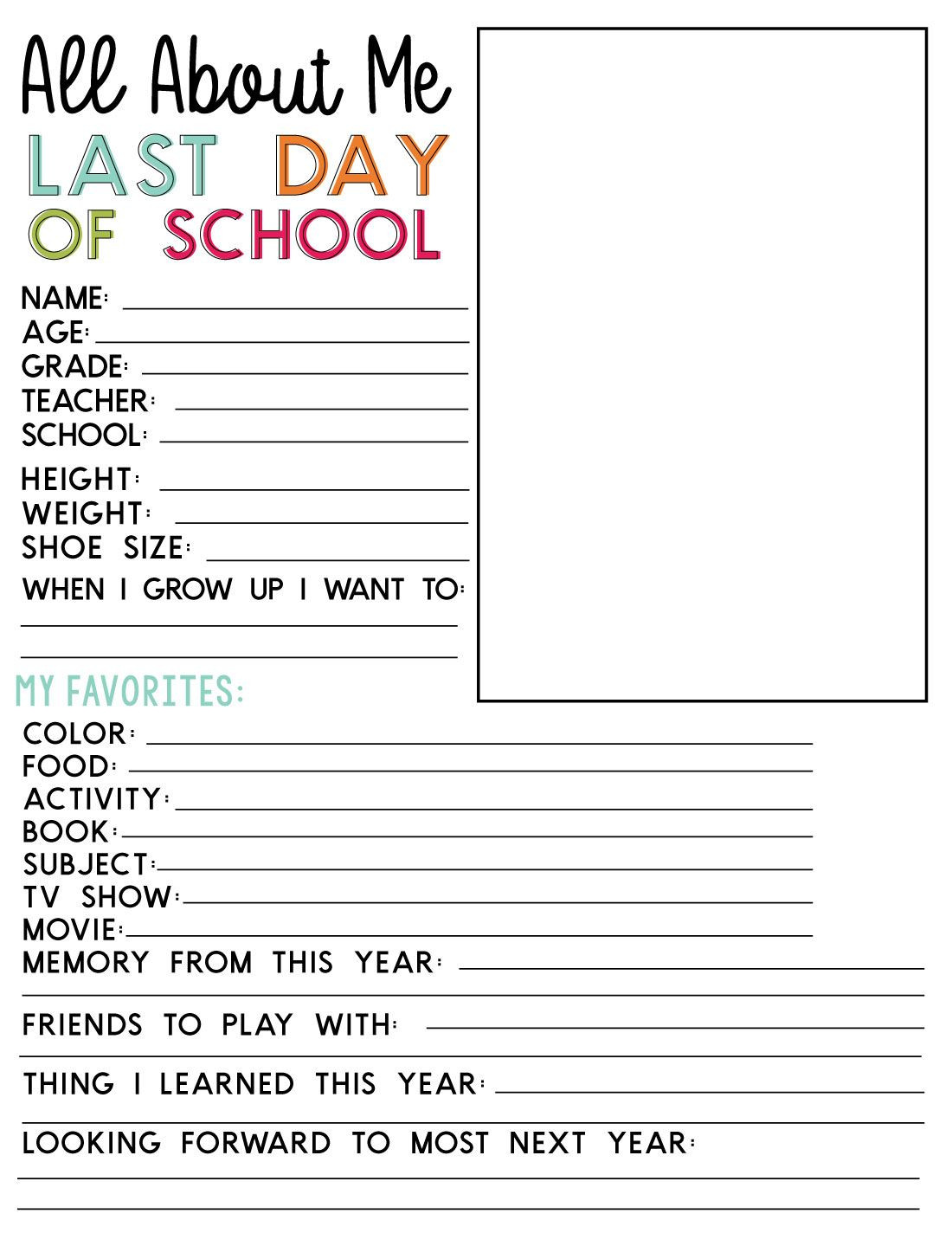 End Of School Worksheets Last Day Of School Printable Fill In Sheet