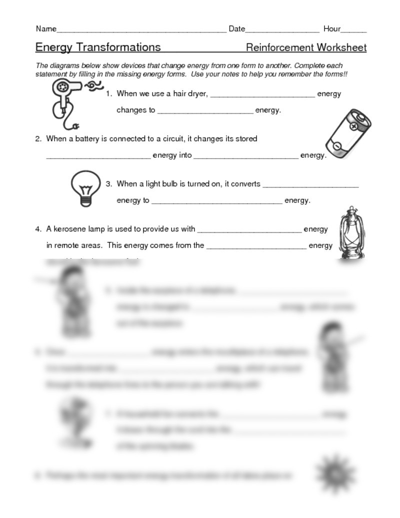 Energy Transformation Worksheet Middle School Electrical Energy Worksheet Doc