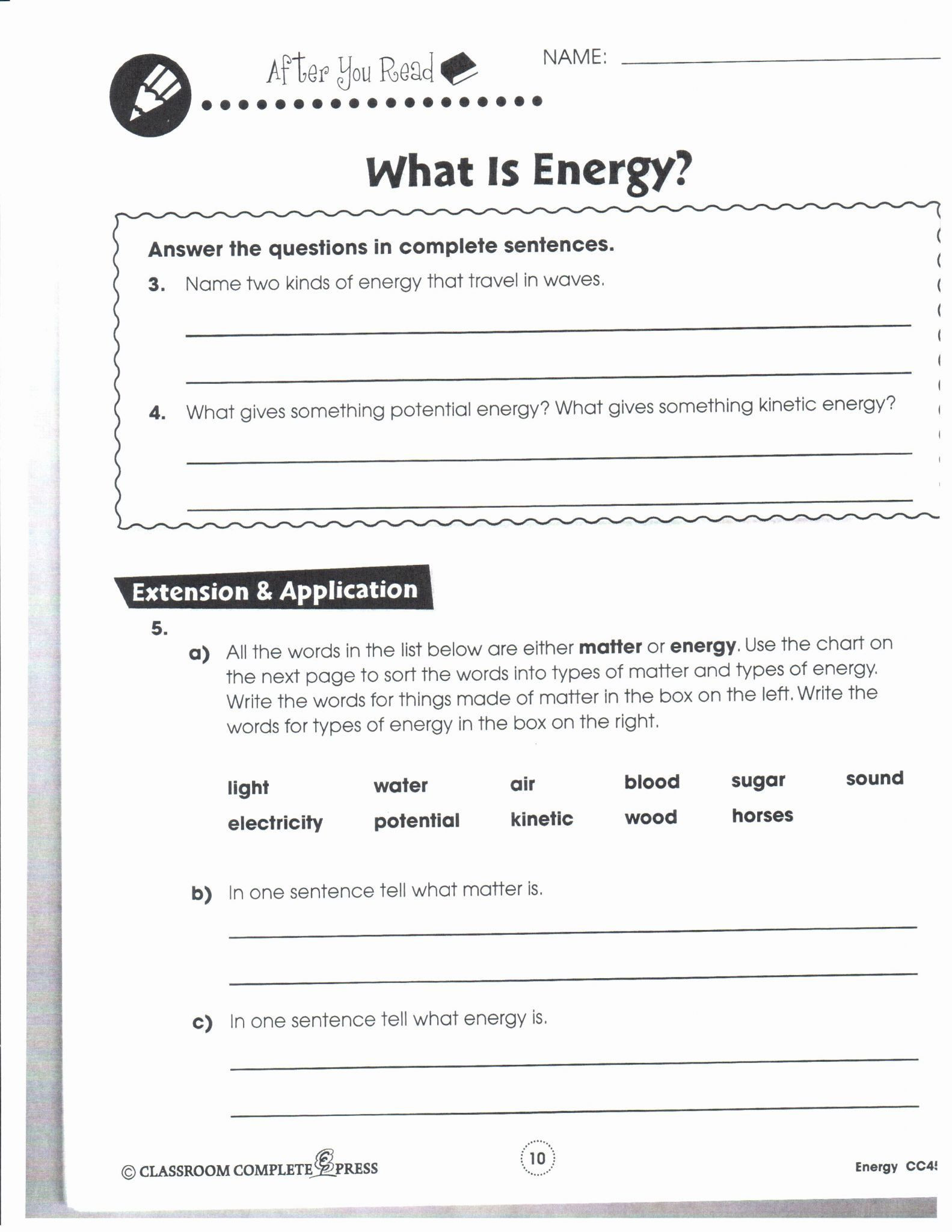 Energy Transformation Worksheet Middle School Energy Conversion Worksheet 6th Grade