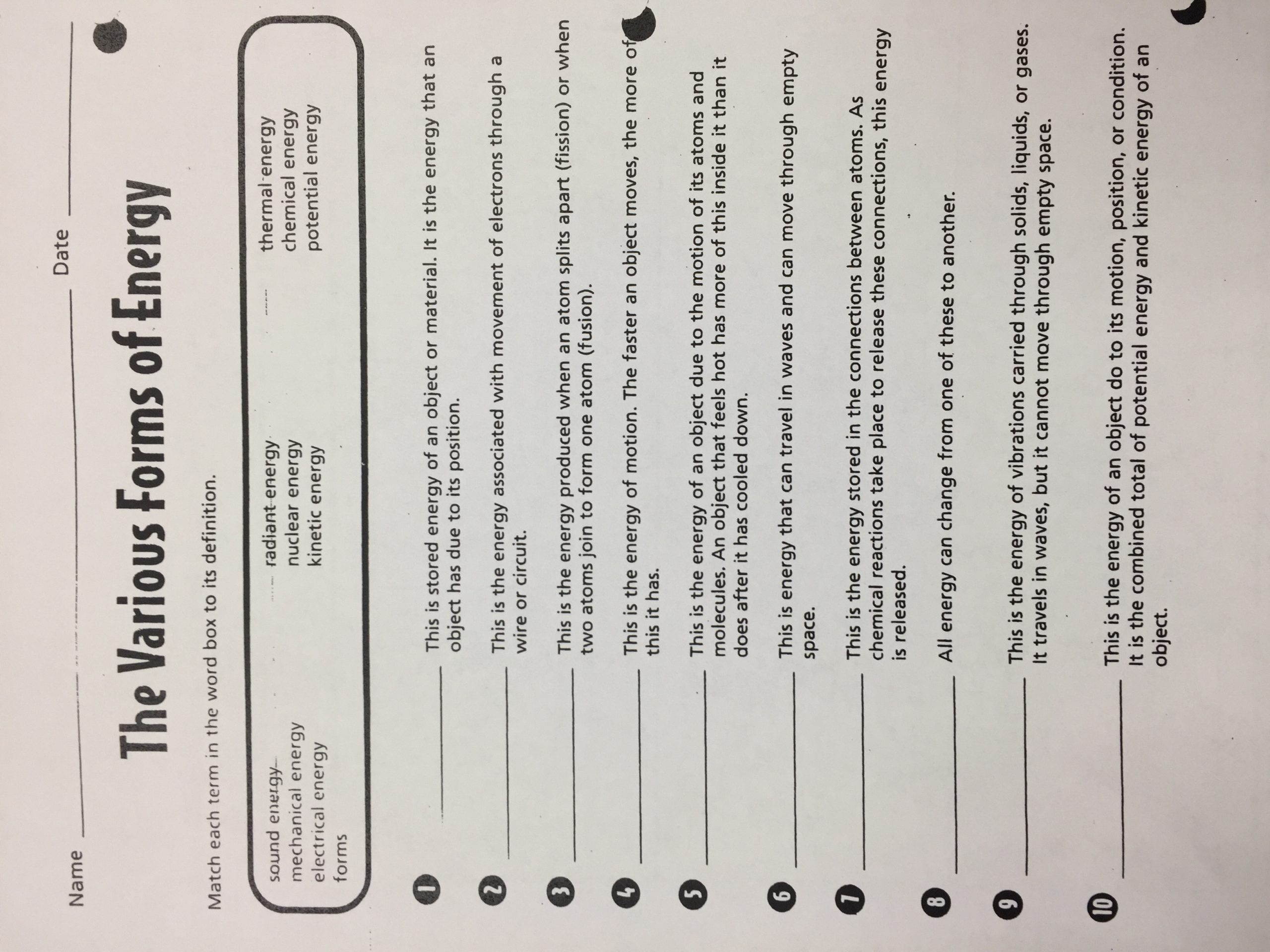 Energy Transformation Worksheet Middle School Michelle Hufstetler Bainbridge Middle School