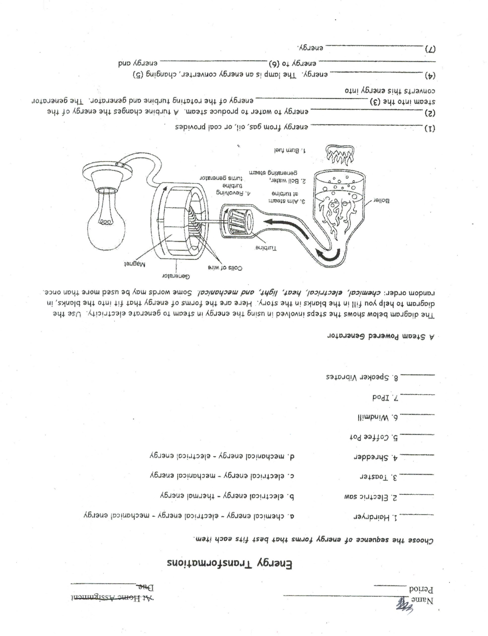 Energy Transformation Worksheet Middle School Writting Transformation Worksheets