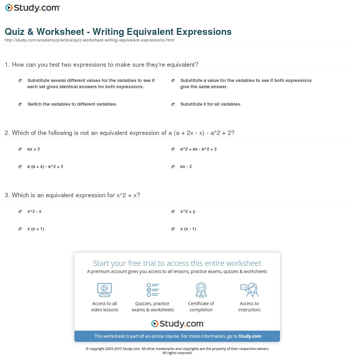 Equivalent Expressions Worksheet 7th Grade Equivalent Expressions Worksheets and Answers