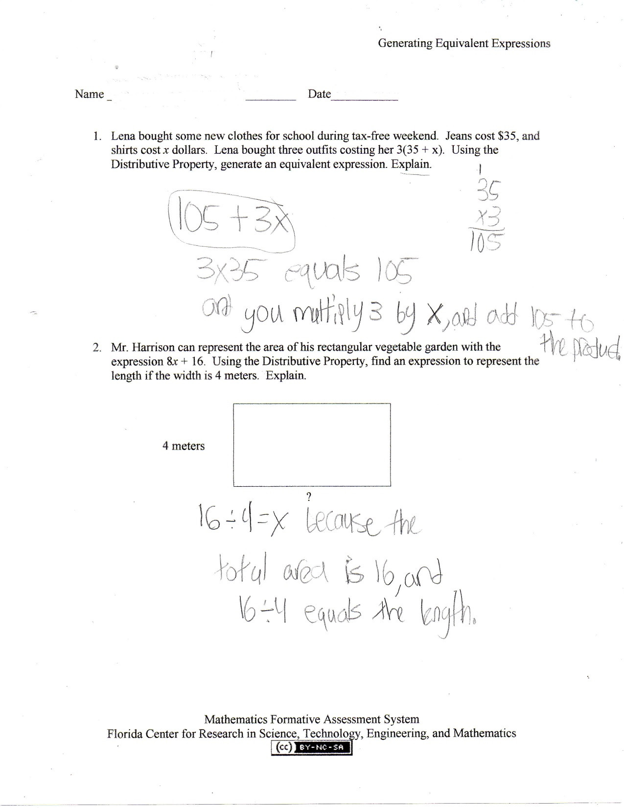 Equivalent Expressions Worksheet 7th Grade Generating Equivalent Expressions Students are asked to