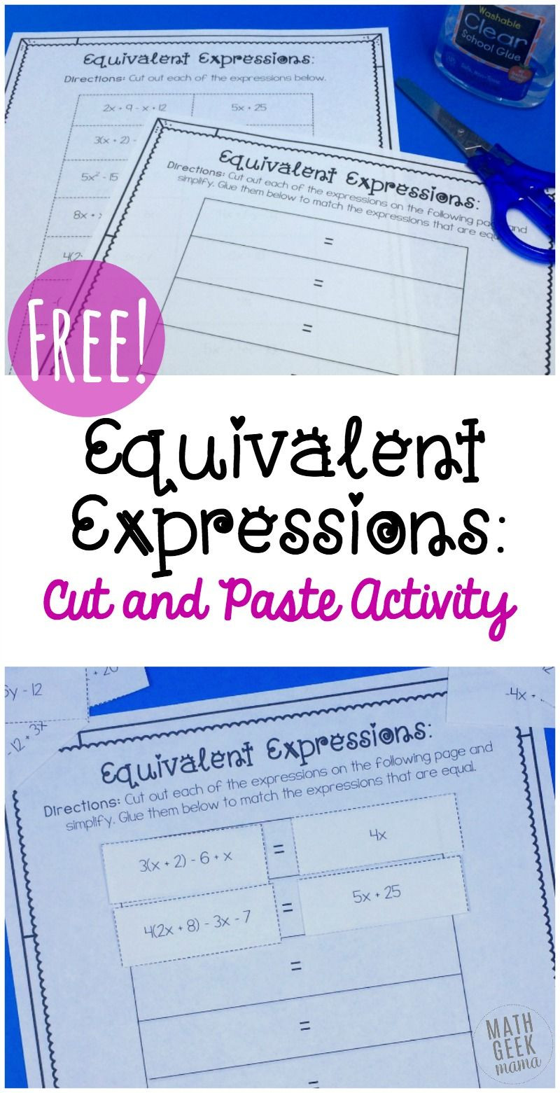 Equivalent Expressions Worksheet 7th Grade Simple Equivalent Expressions Activity Free