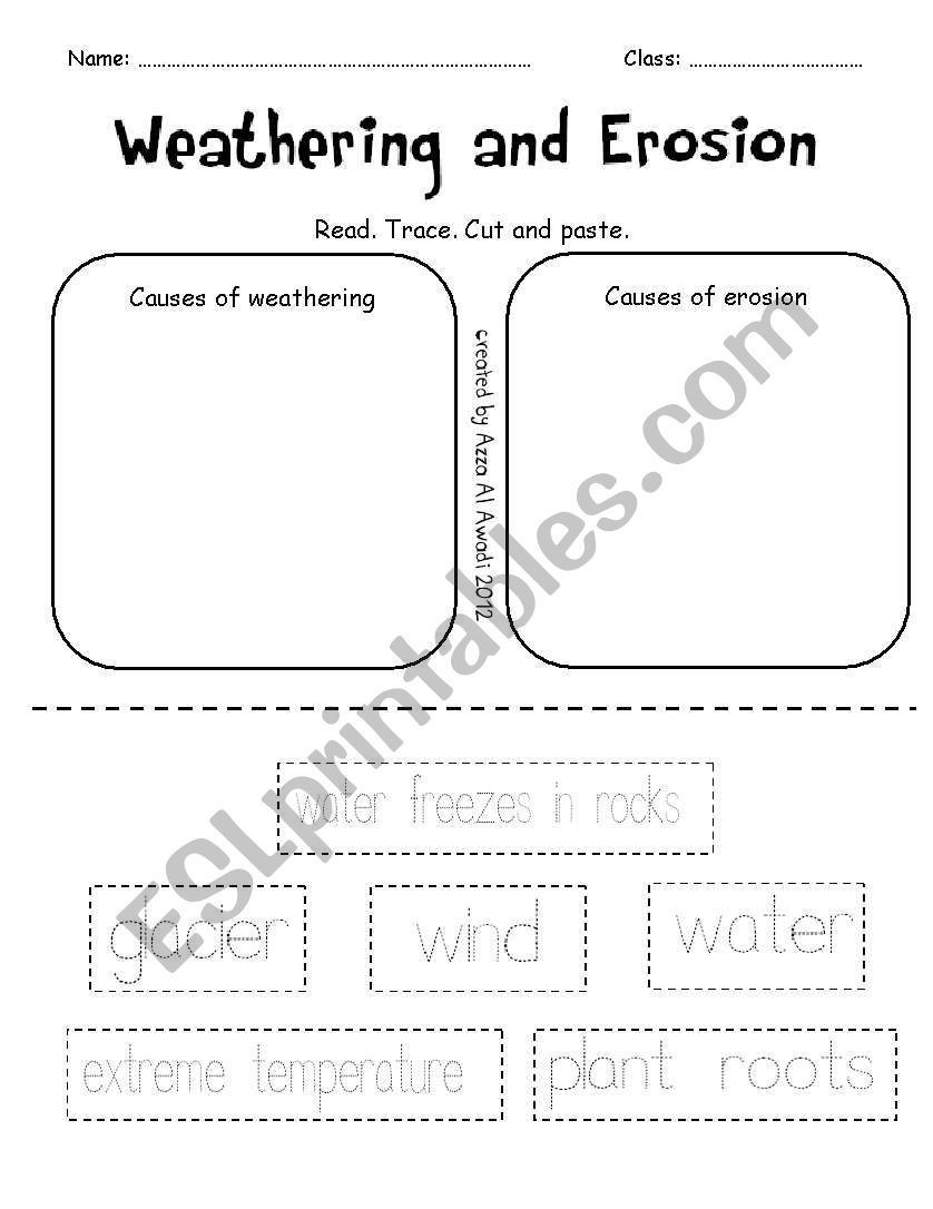 Erosion Worksheets 4th Grade Weathering and Erosion Worksheet