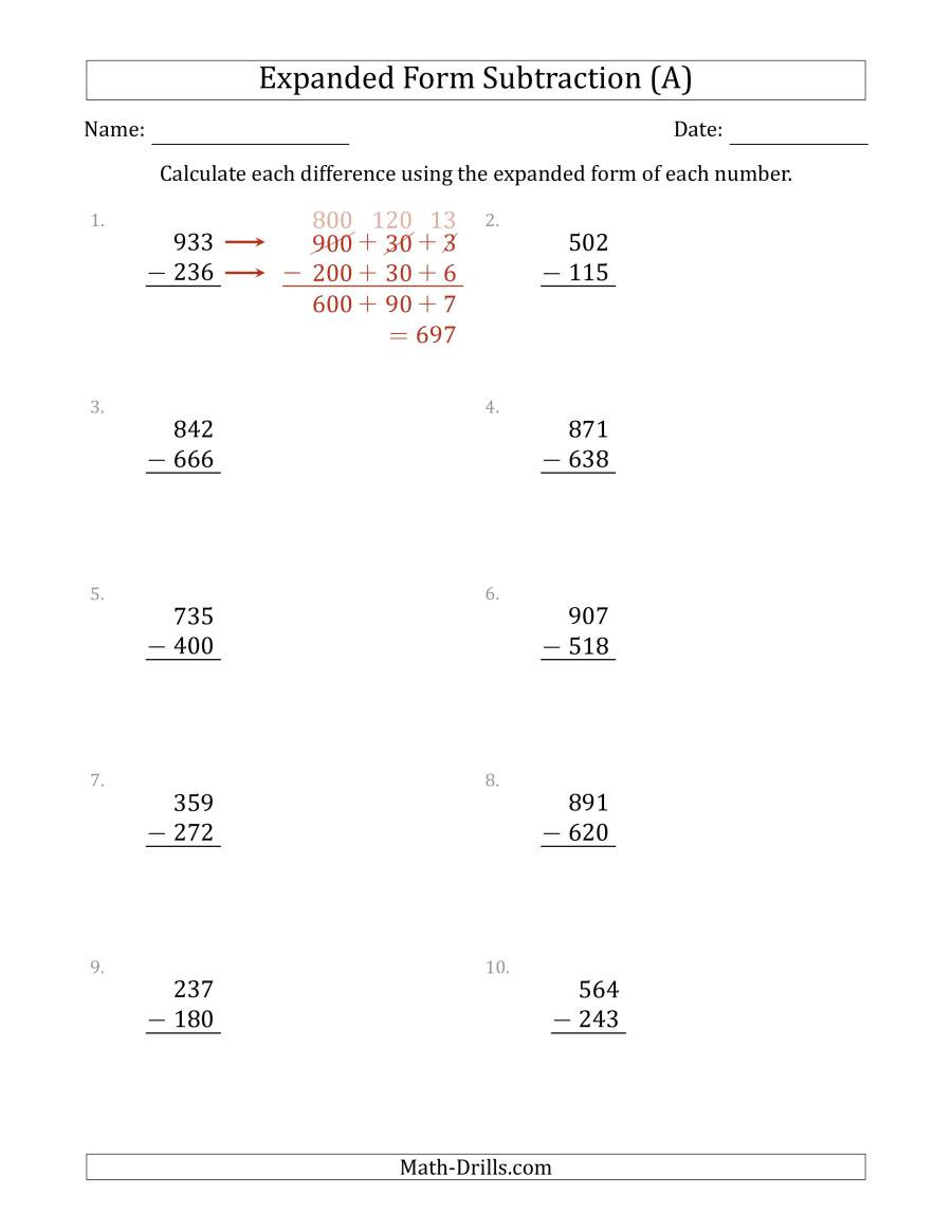 Expanded form Worksheets 3rd Grade 3 Digit Expanded form Subtraction A