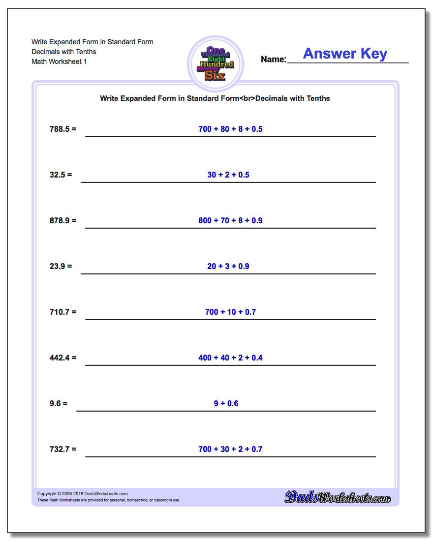 Expanded form Worksheets 3rd Grade Write Numbers In Expanded form