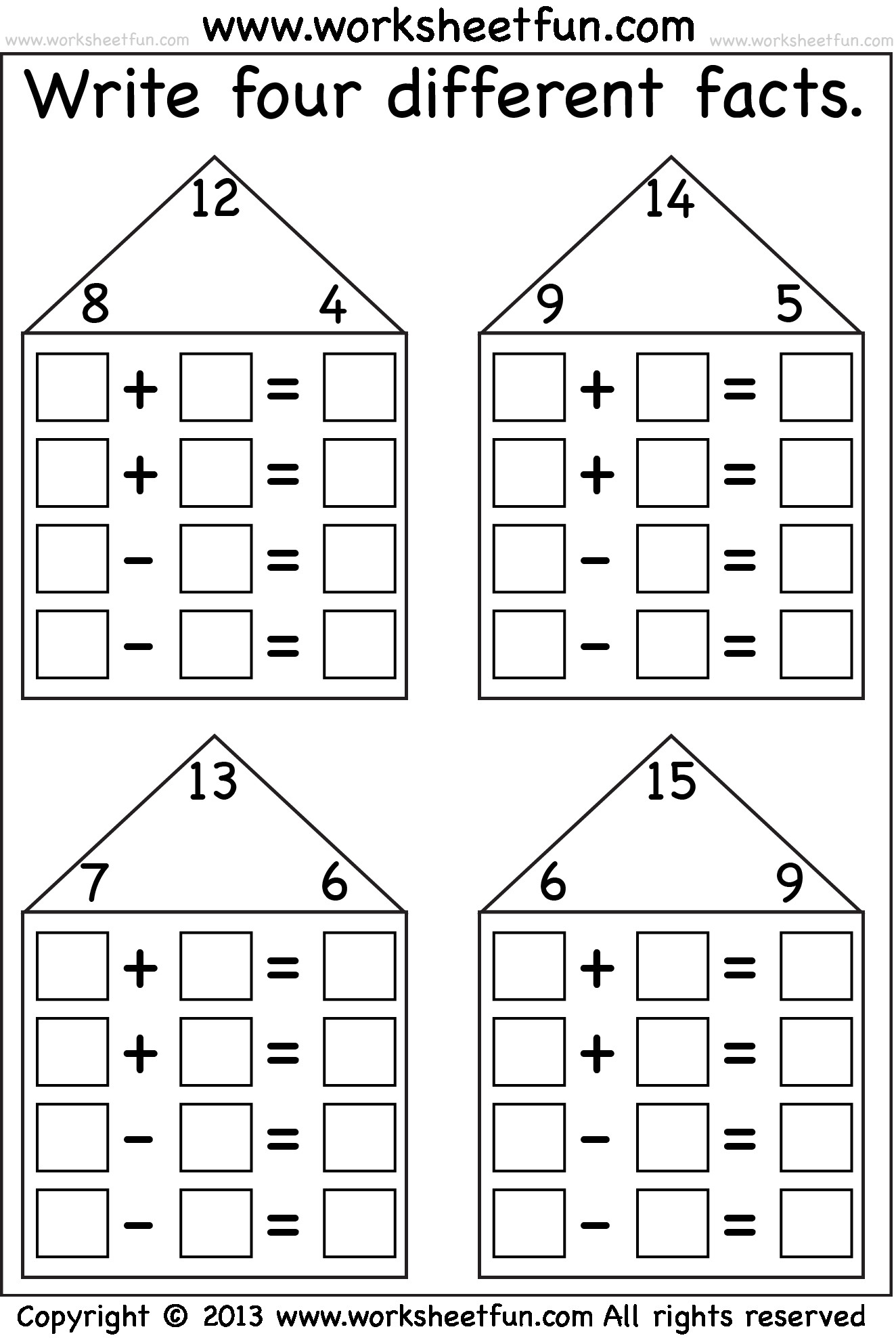 Fact Family Worksheets 1st Grade Free Fact Family Worksheets for 1st Grade