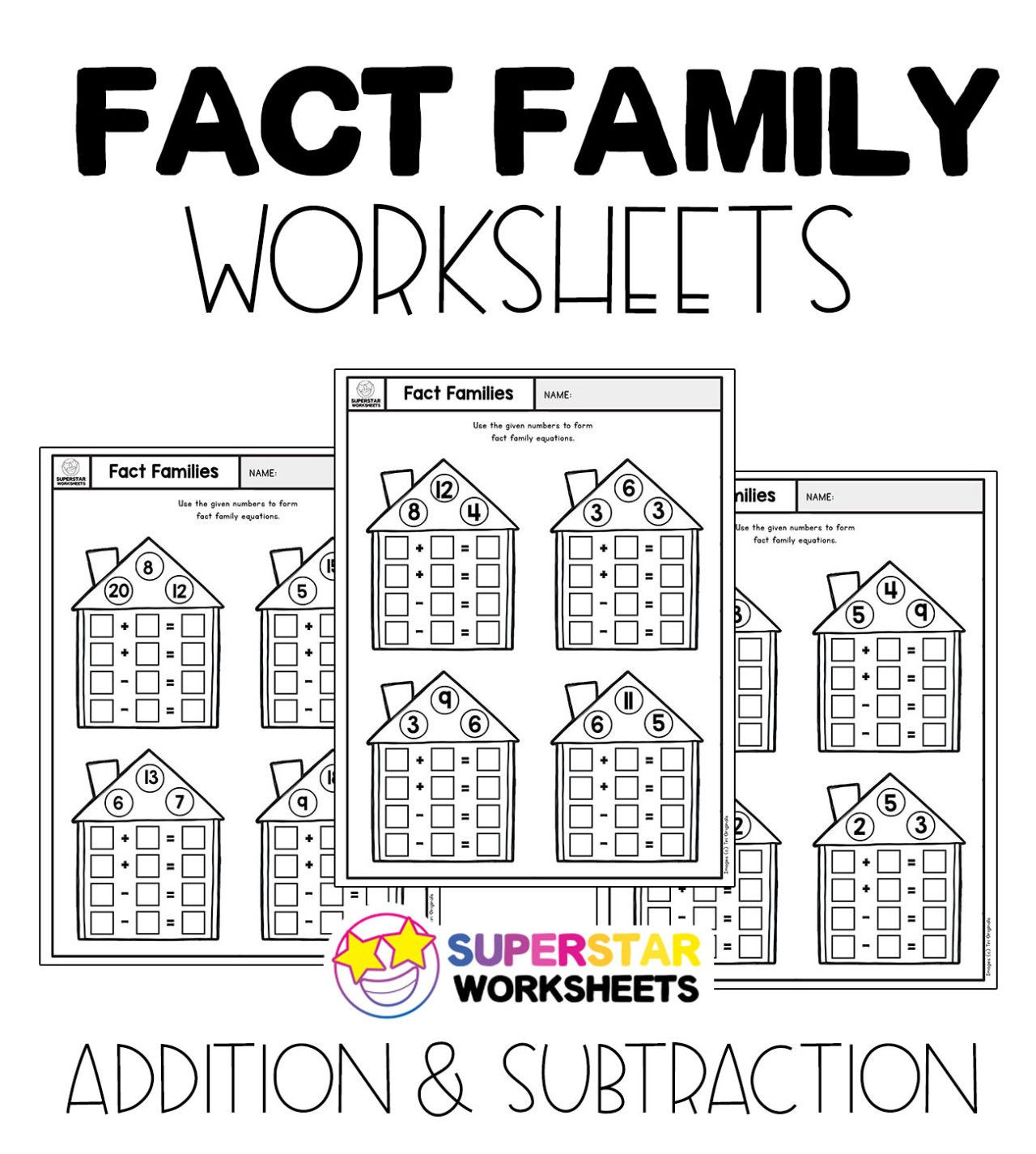 Fact Family Worksheets 1st Grade Free Fact Family Worksheets for Addition and Subtraction