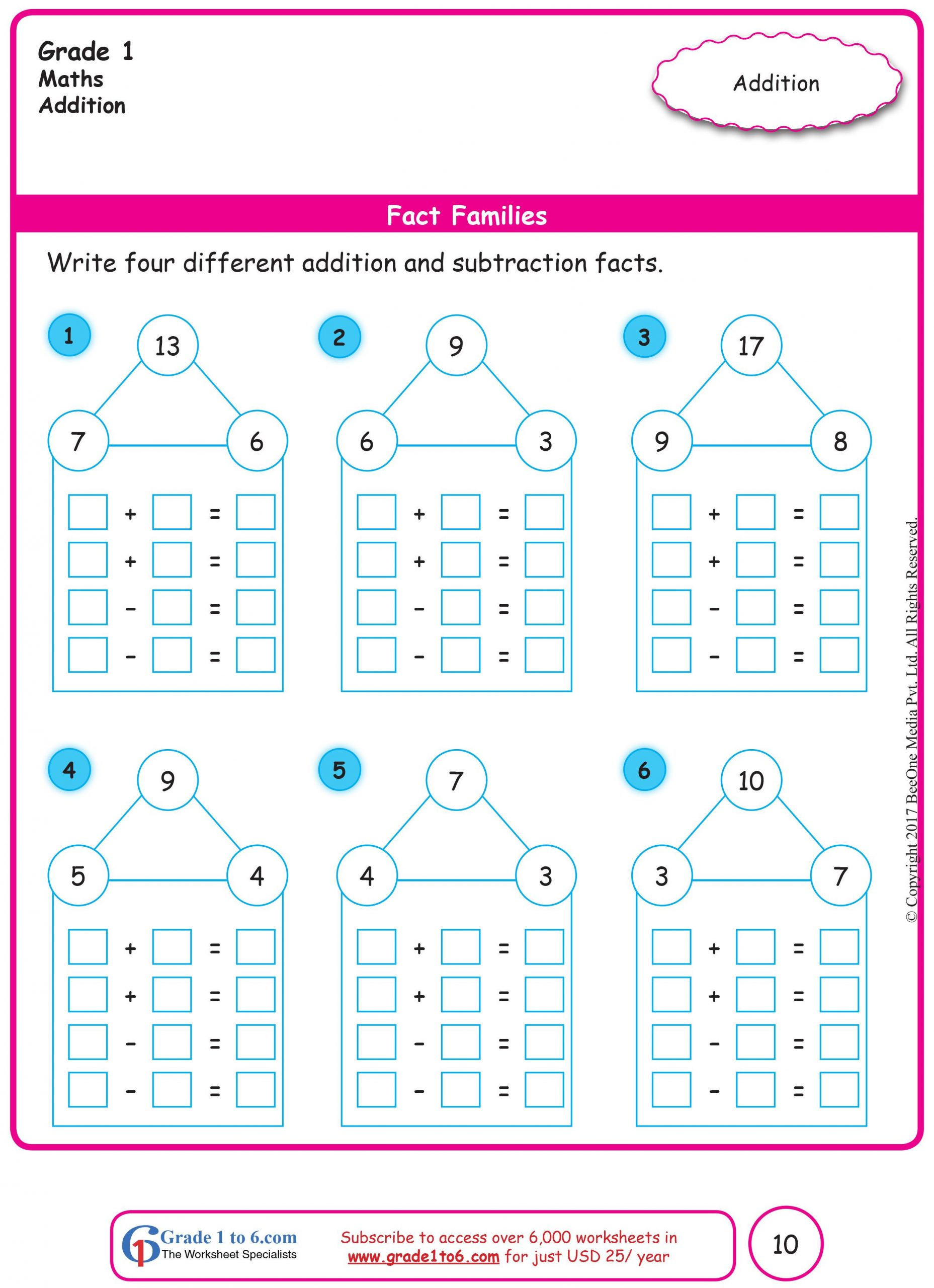 Fact Family Worksheets 1st Grade Free Math Worksheets for Grade 1 Through Grade 6 Subscribe