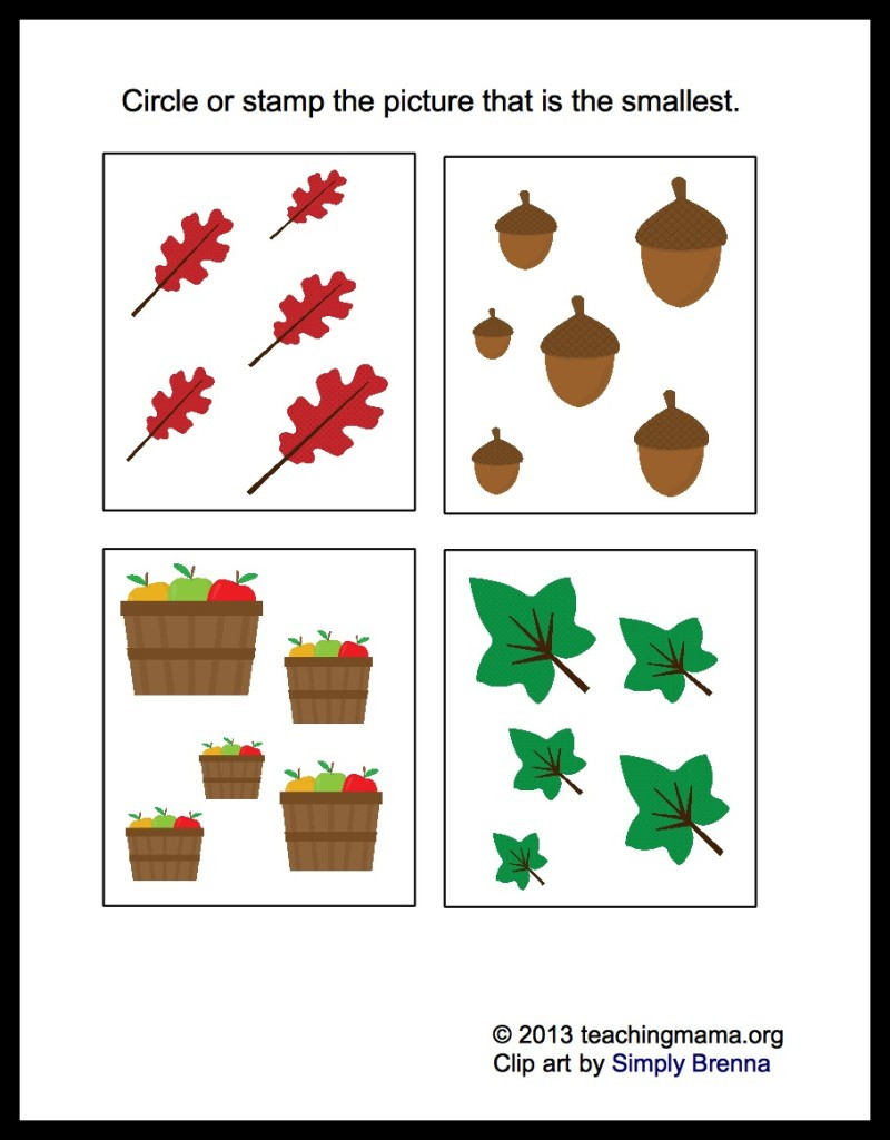 Fall Worksheets for Preschool Fall Math Packet for Preschoolers