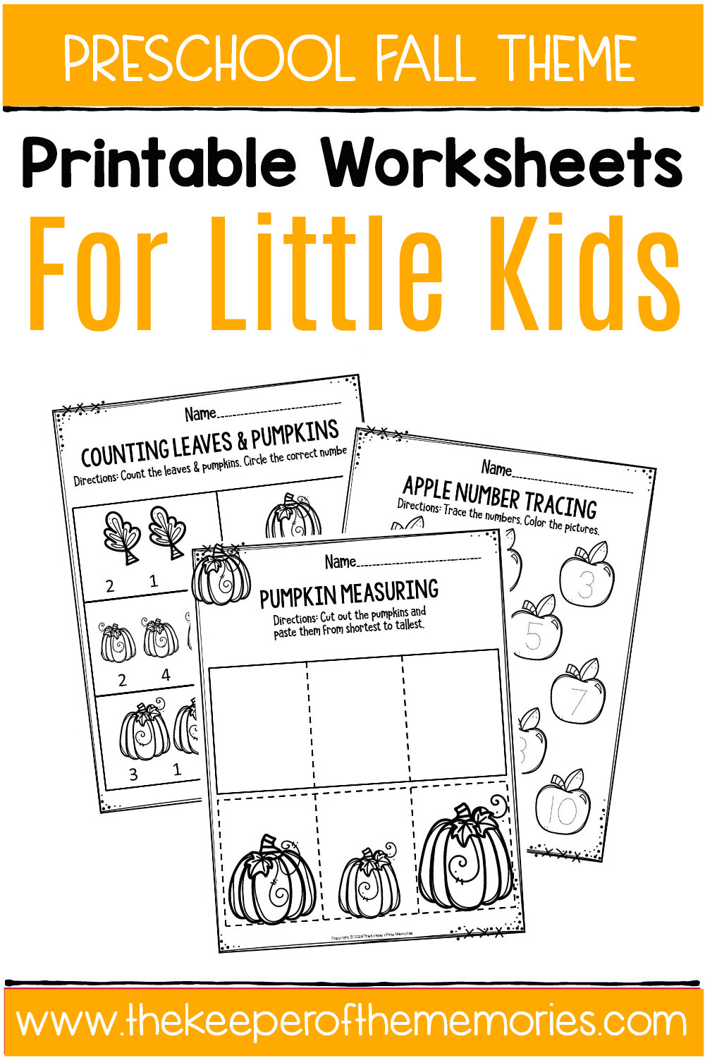 Fall Worksheets for Preschool Fall Printable Preschool Worksheets the Keeper Of the Memories