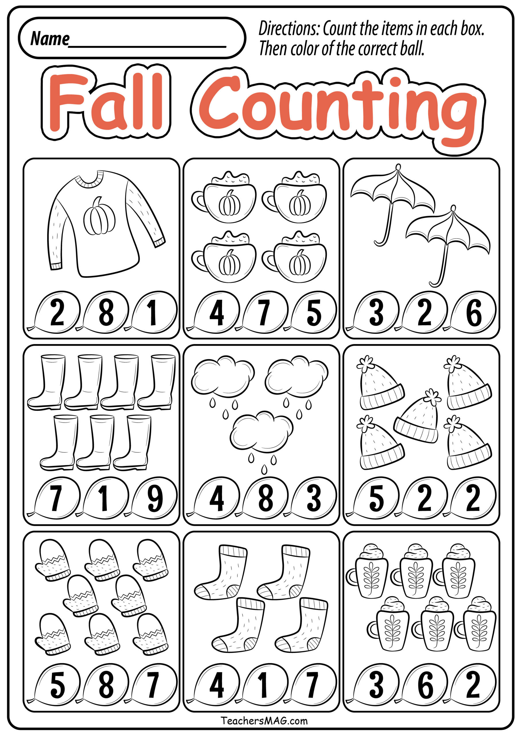 Fall Worksheets for Preschool Preschool Fall Math Worksheets Teachersmag Free Printable