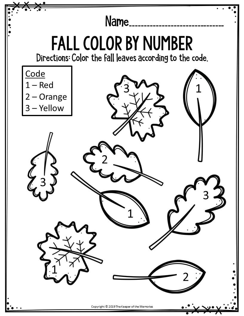 Fall Worksheets for Preschool Preschool Worksheets Fall Color by Number Leaves the