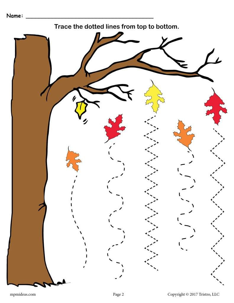 Fall Worksheets for Preschool Printable Fall Line Tracing Worksheets