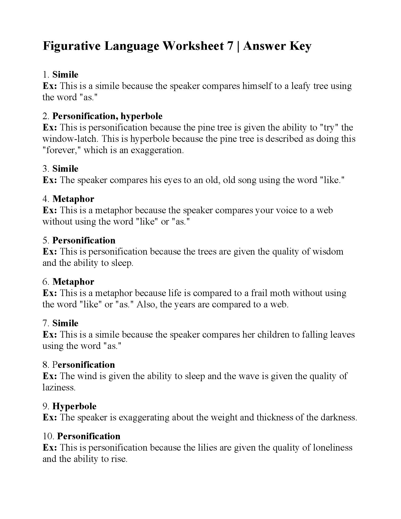 Figurative Language Worksheet 5th Grade Figurative Language Worksheet Answers Printable Worksheets