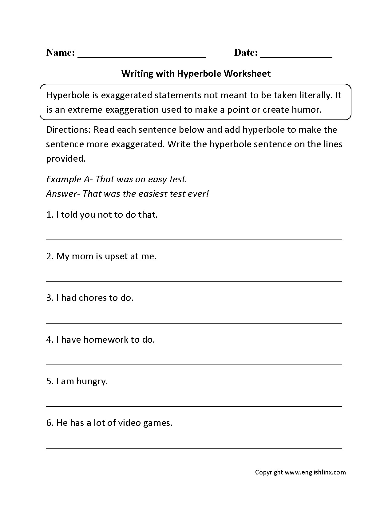 Figurative Language Worksheet 5th Grade Hyperbole Worksheet