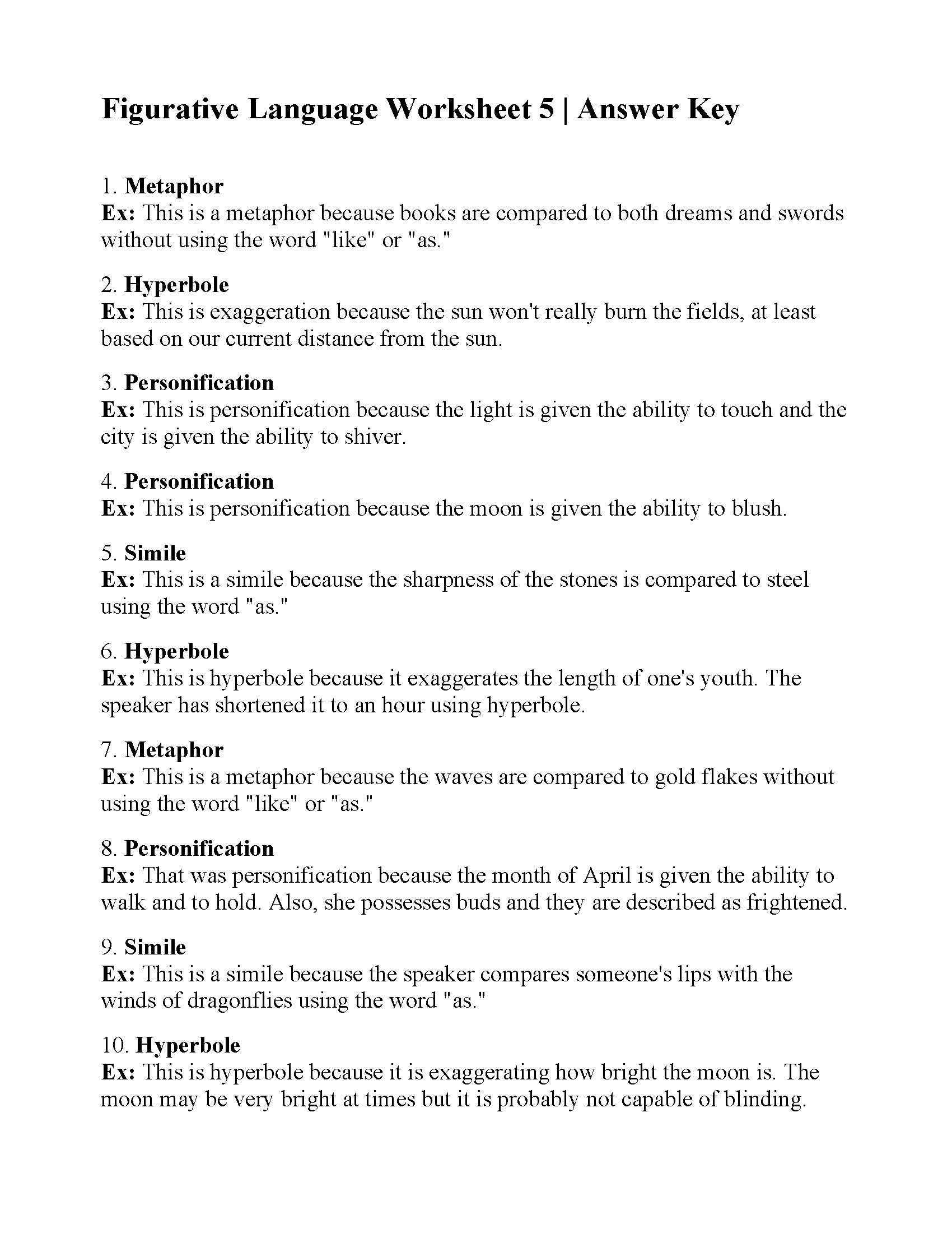 Figurative Language Worksheet 5th Grade Math Textbooks for Elementary School Line Worksheets for