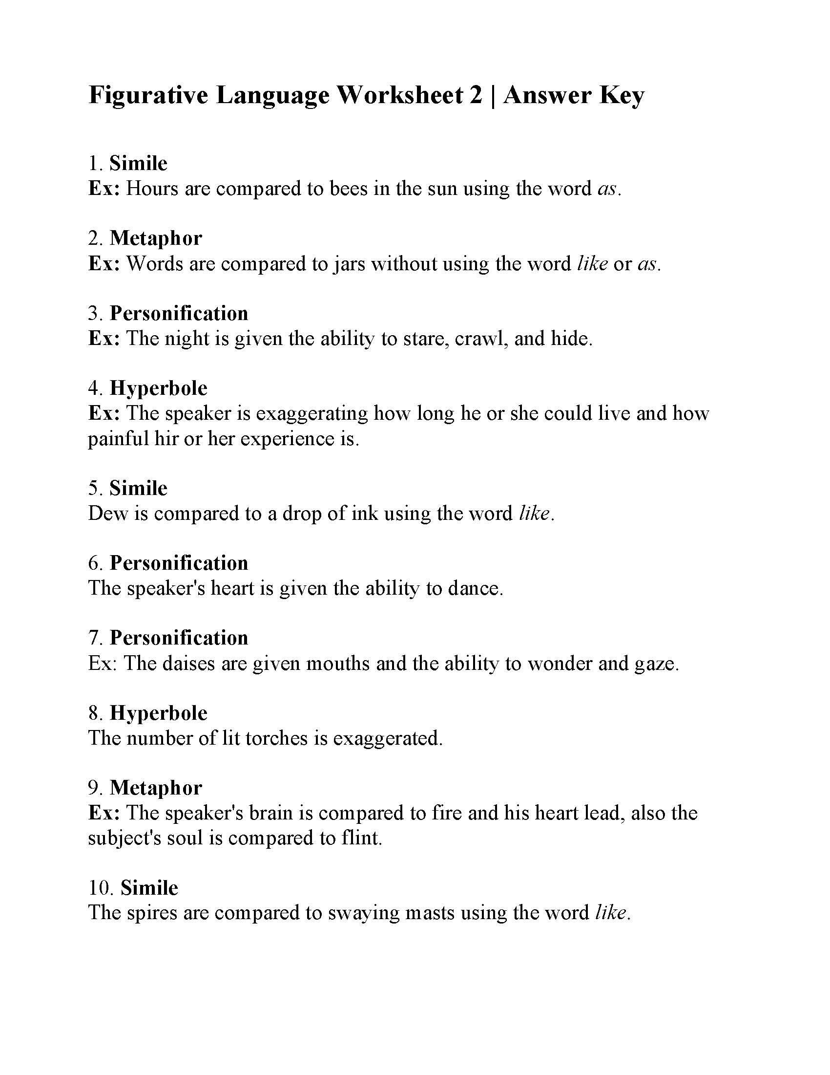 Figurative Language Worksheet 5th Grade This is the Answer Key for the Figurative Language Worksheet