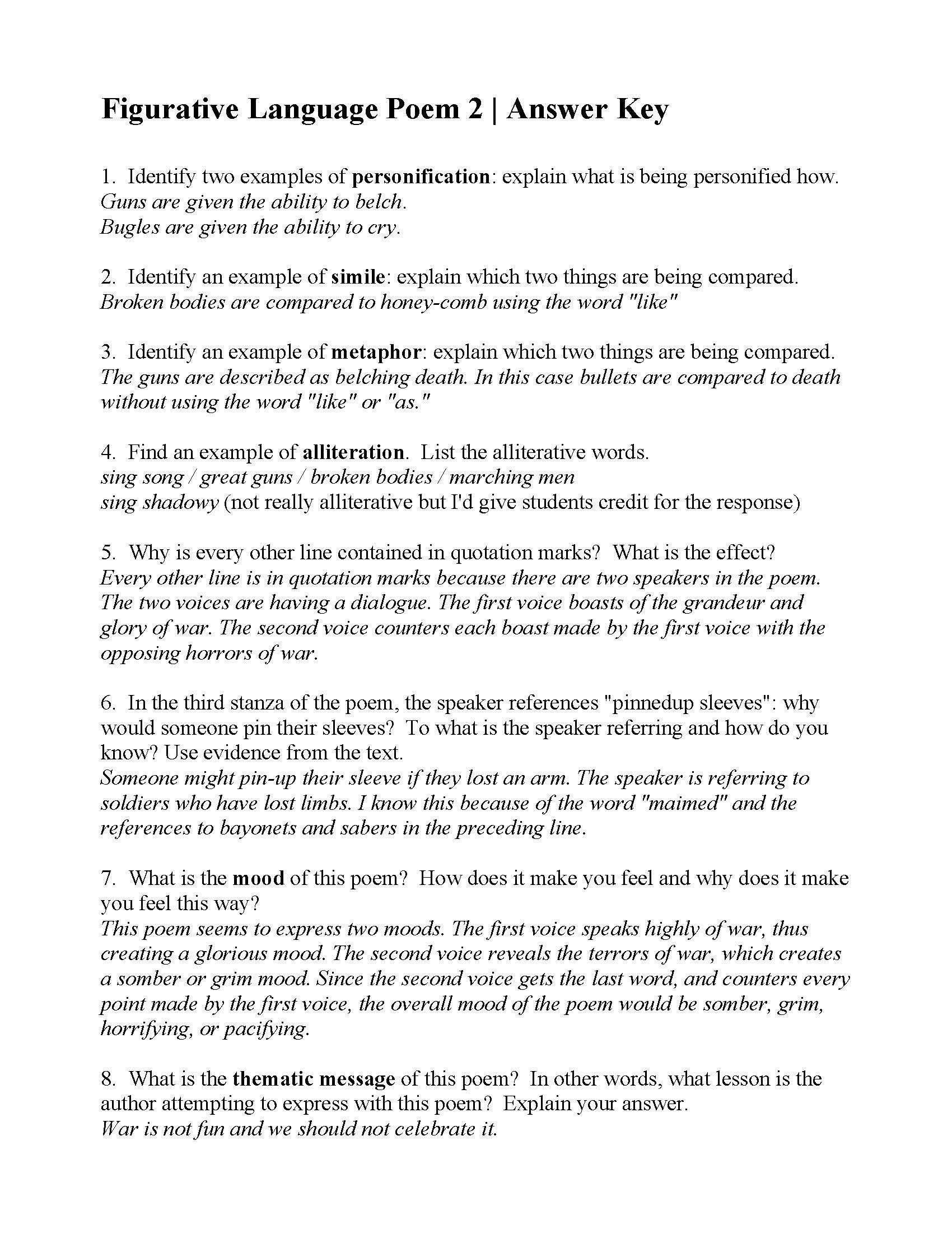 Figurative Language Worksheet Middle School Pin On Printable Worksheet for Kindergarten