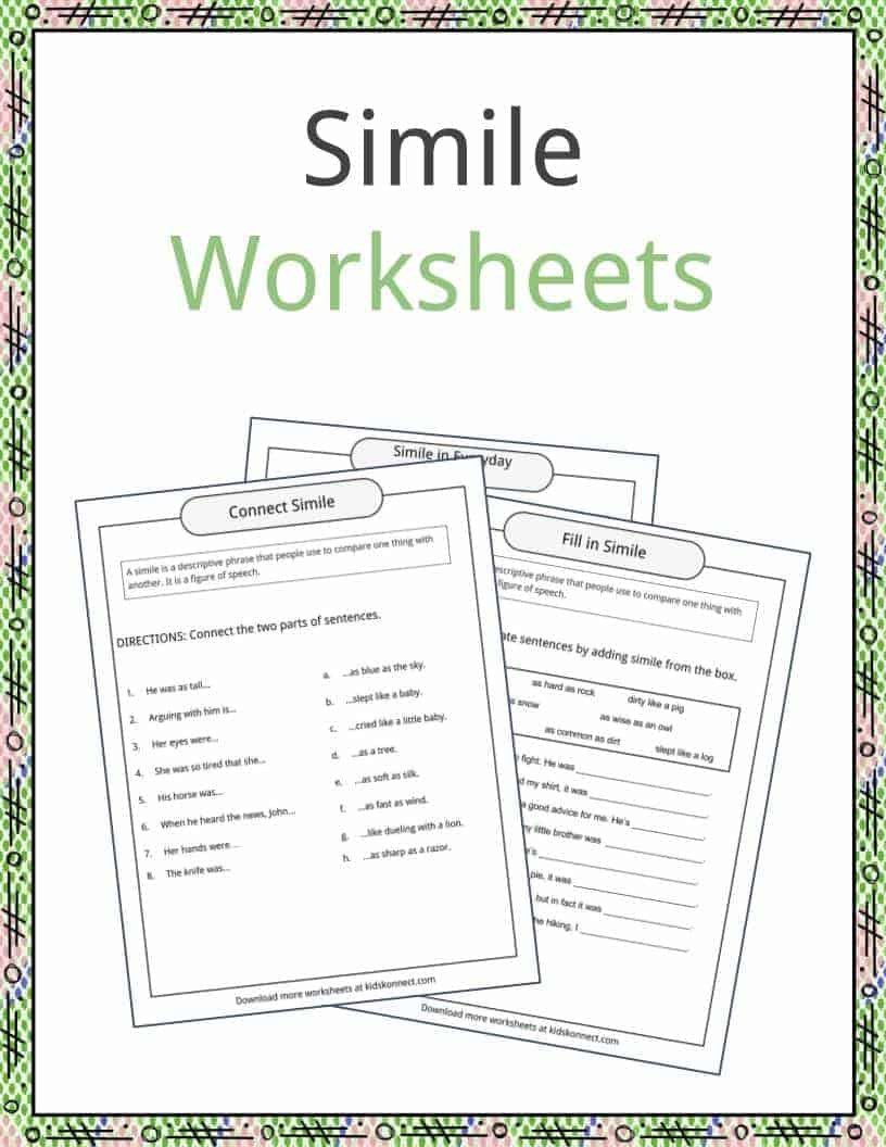 Figurative Language Worksheets 5th Grade Simile Examples Definition and Worksheets