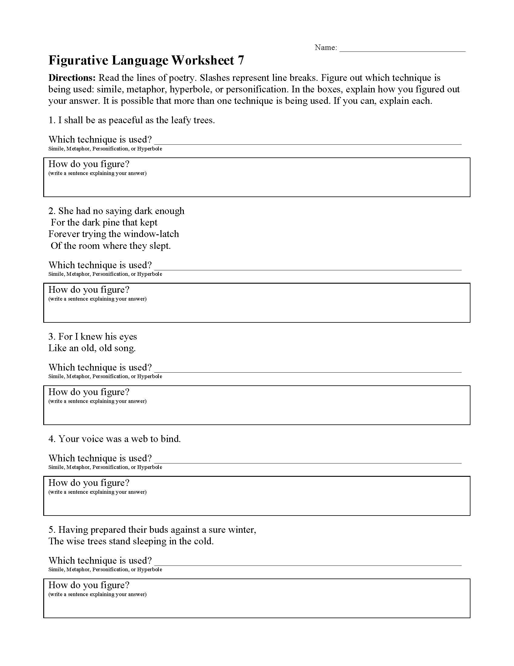 Figurative Language Worksheets High School Simile Worksheets For 6th Grade Educational Template Design Reading worksheets and online activities. educational template design