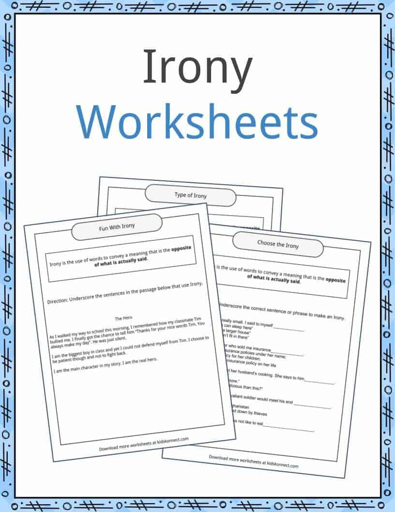 Figurative Language Worksheets High School Irony Examples Definition and Worksheets