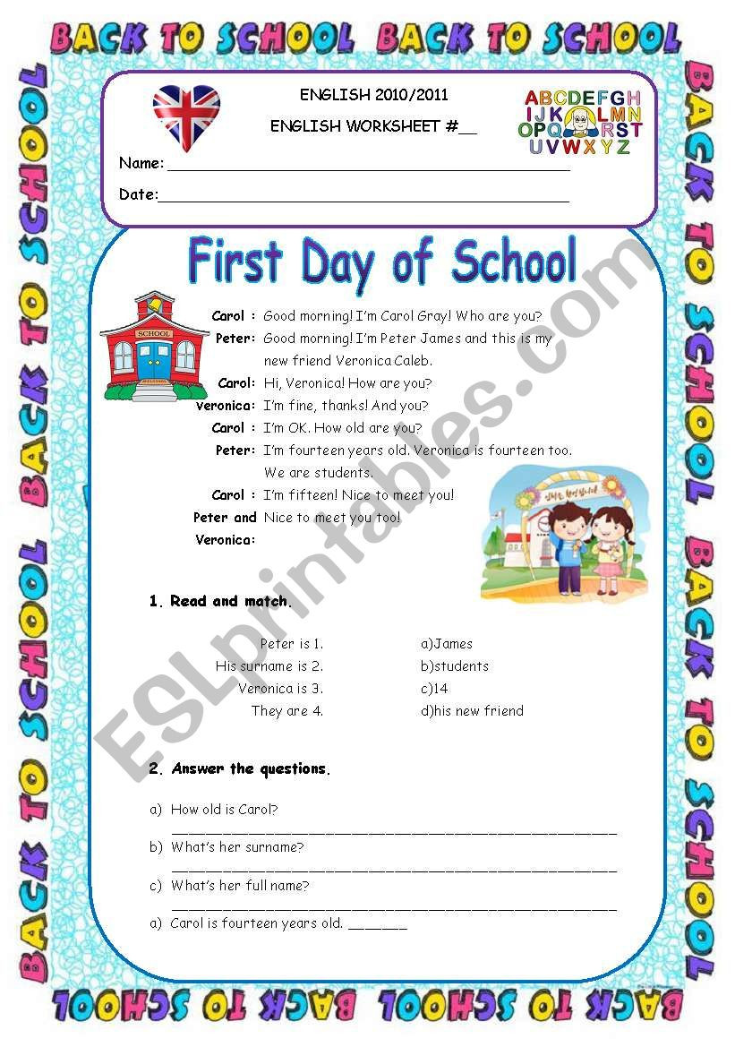First Day Of School Worksheet First Day Of School Personal Info Worksheet 5th Grade