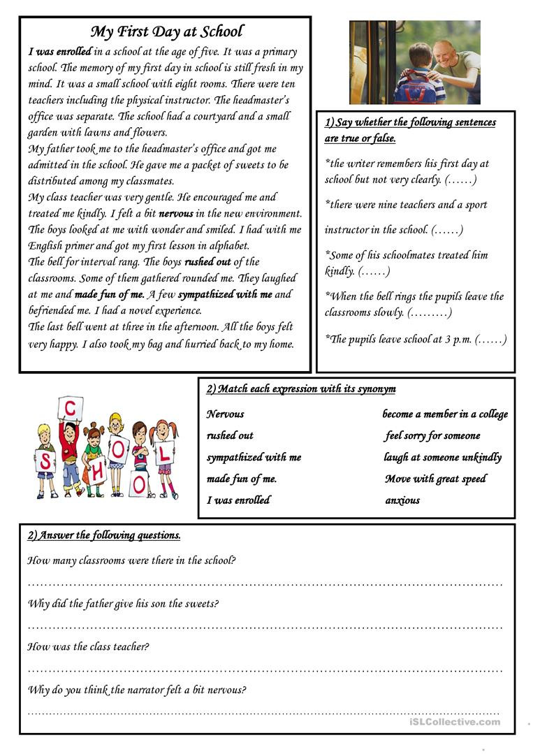First Day Of School Worksheet My First Day at School English Esl Worksheets for Distance