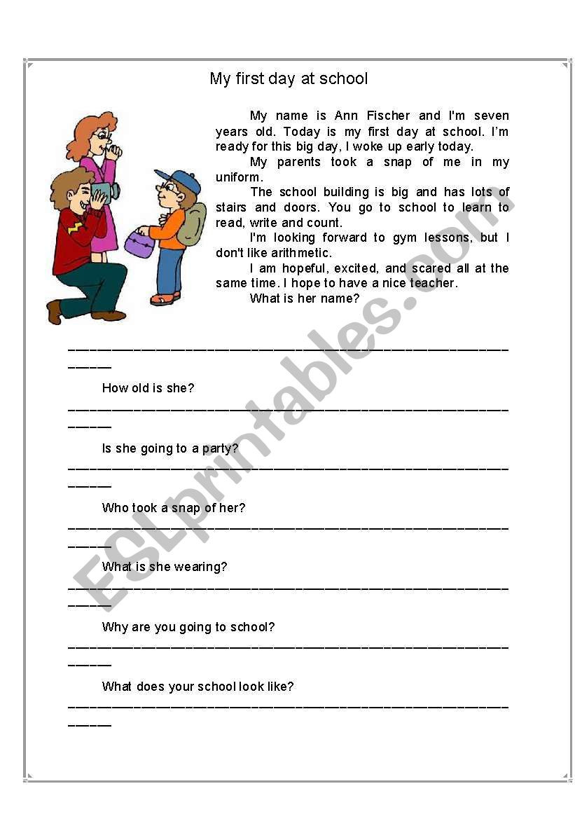 First Day Of School Worksheet My First Day at School Esl Worksheet by Mihaela M13