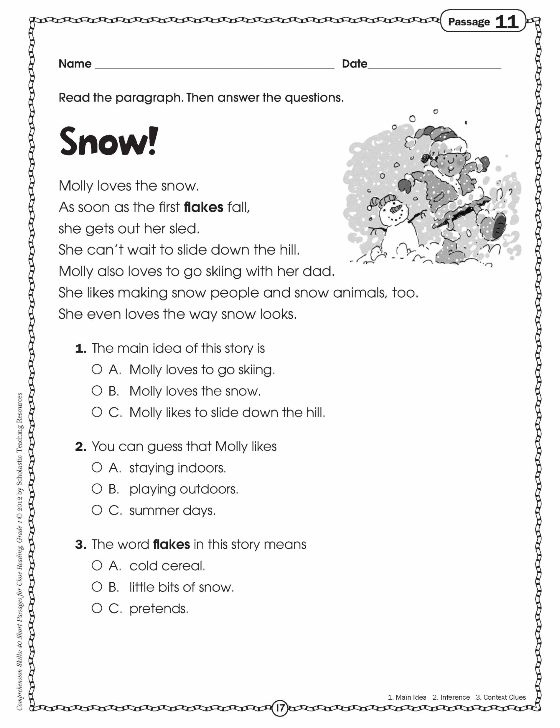First Grade Comprehension Worksheets Math Worksheet Reading Worksheets 1st Grade First