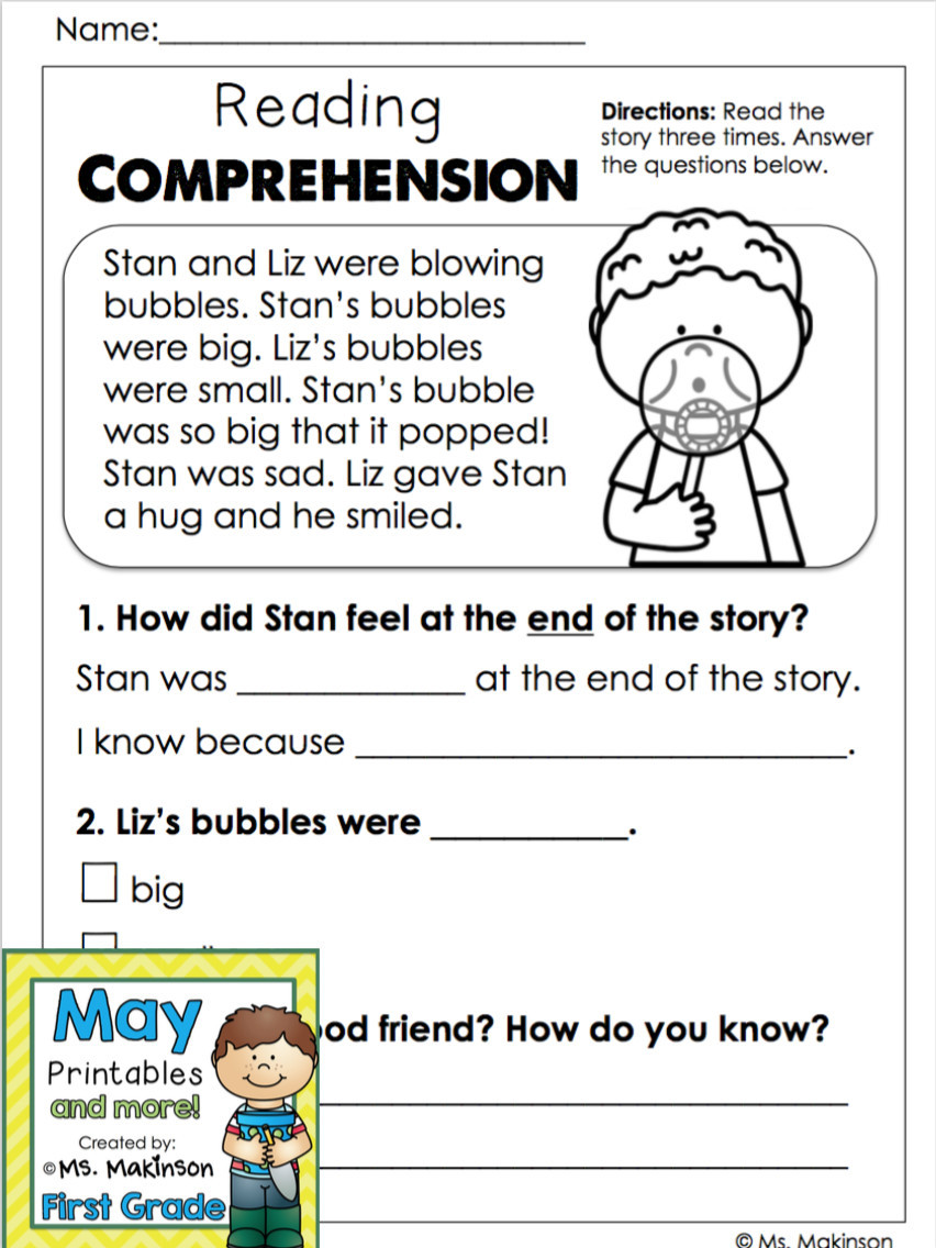 First Grade Comprehension Worksheets Reading Worksheets for Kindergarten Free Printable May