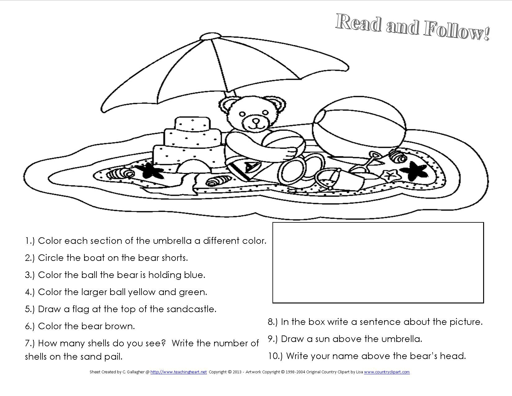 Following Directions Worksheet Third Grade A Beach Unit Beach Lessons Links Ideas and More for the