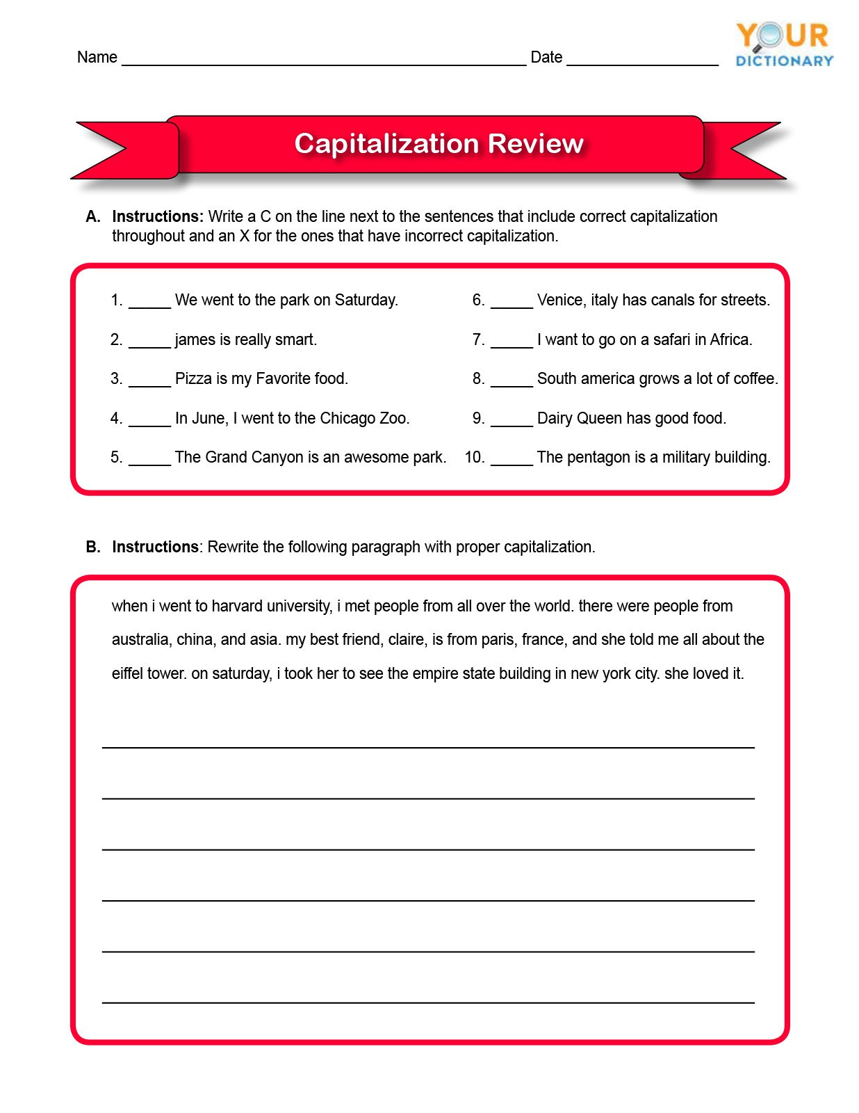 Following Directions Worksheet Third Grade Capitalizations Worksheet Third Grade