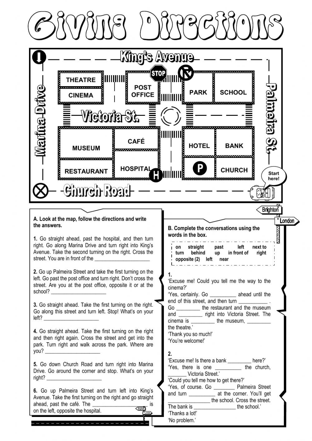 Following Directions Worksheet Third Grade Giving Directions Worksheet