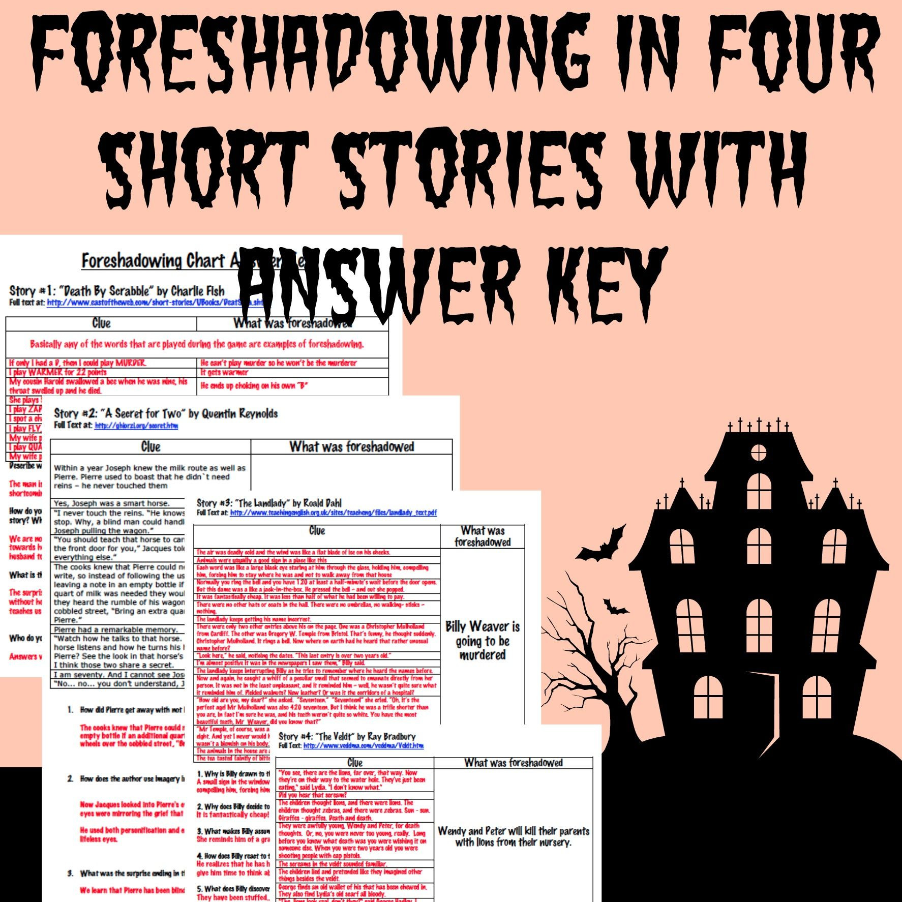 Foreshadowing Worksheet Middle School foreshadowing Charts for Four Short Stories