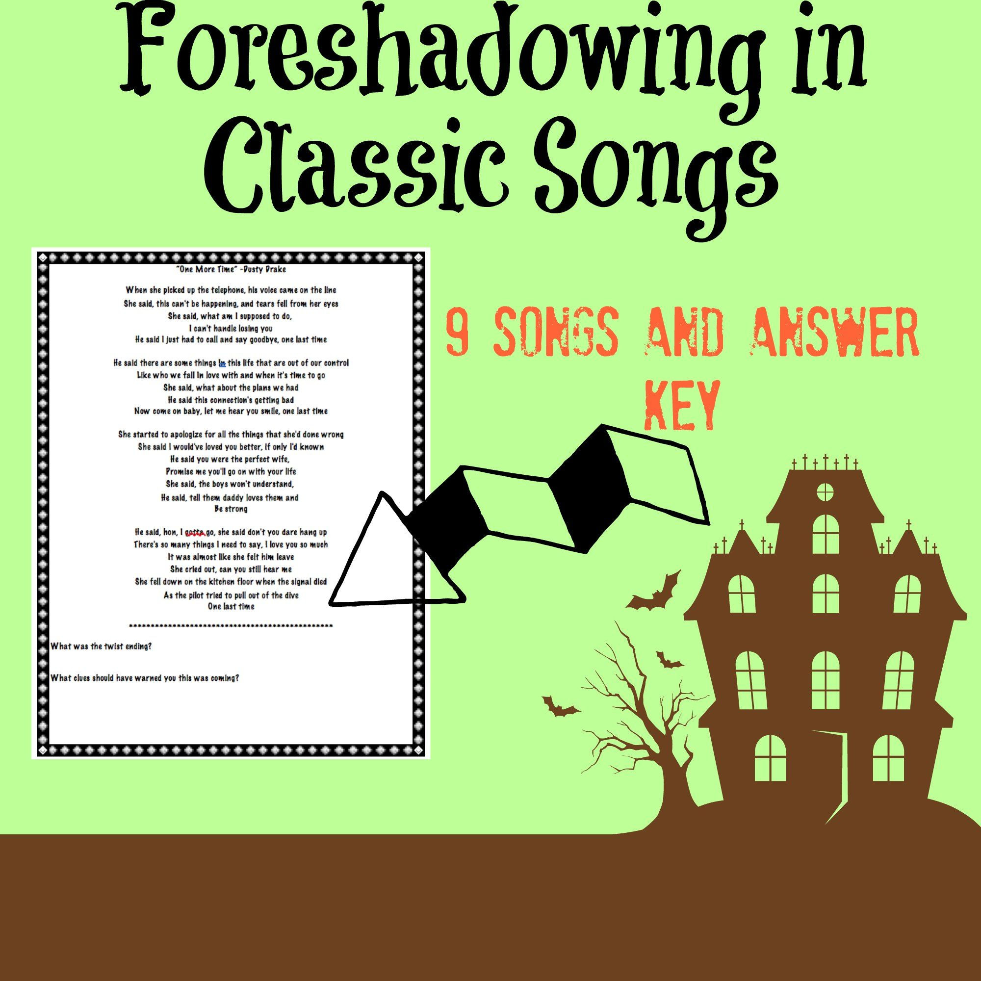Foreshadowing Worksheet Middle School Identifying foreshadowing In Classic songs with Answer Key