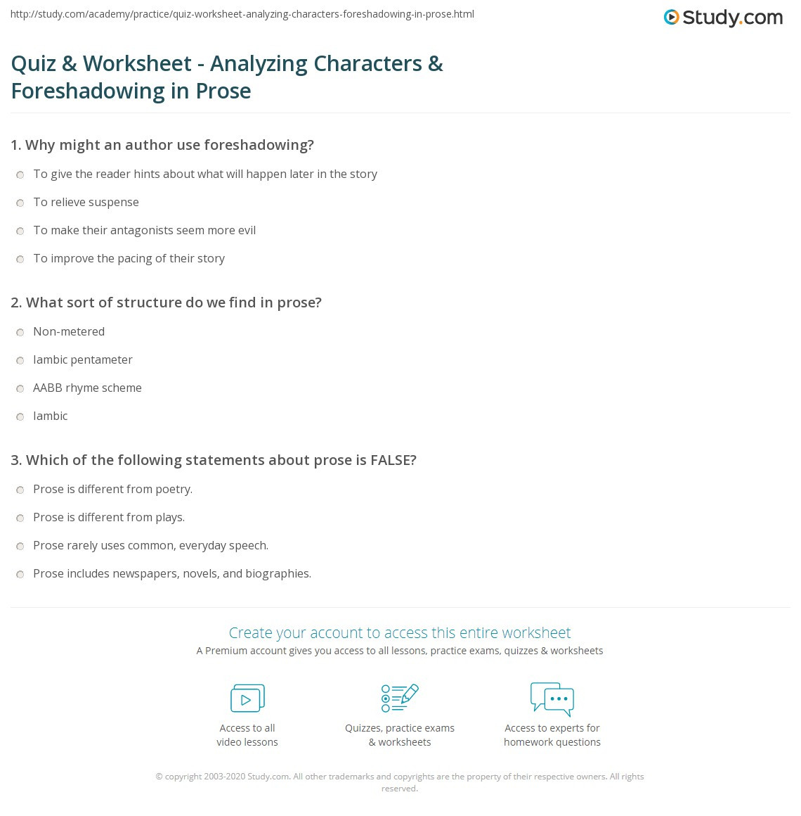 Foreshadowing Worksheet Middle School Quiz & Worksheet Analyzing Characters & foreshadowing In