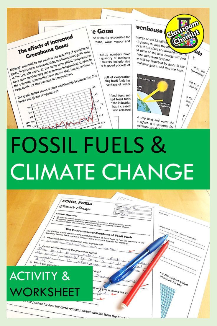 Fossil Fuels Worksheet Middle School Climate Change Activity and Worksheet